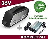 Set E-Bike Ersatzakku Power Pack 13 Ah 468 Wh 36V für Bosch Classic Unterrohr + Ladegerät