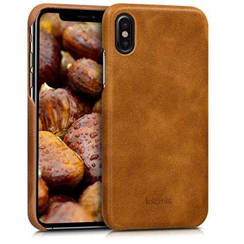 kalibri-Echtleder-Backcover-Hlle-fr-Apple-iPhone-X-Leder-Case-Cover-Schutzhlle-in-Cognac