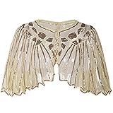 PrettyGuide Damen Stola Abendkleid Perlen Pailletten Art Deco 20er Jahre Schal Champagner Beige
