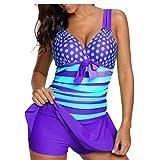 OMSLIFE Plus Size V-Kragen Tankini Damen Wellenpunkt Badeanzug mit Röckchen Badekleid mit Shorts Bademode Damen große größen -0154 (Lila, XXL)