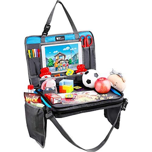 Amzdeal 4 in 1 Reisetisch Kinder - Einstellbar und Tragbar Kindersitz Spieltisch Esstisch, mit Getränkehalter, iPad Abdeckhaube, Aufbewahrungsbeutel, als Reisetablett für Auto Kinderwagen Flugzeug