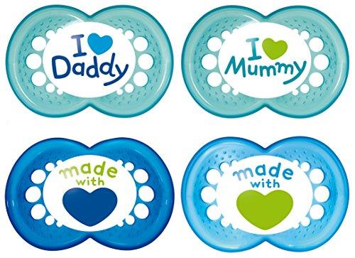 MAM Schnuller Original Silikon 6-16 Monate I Love Mummy & Daddy, 4 Stück, für Jungen