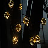 WW Solar Snow String Lights LED Outdoor Decorative Lights Garden Lights Waterproof Grape Christmas Christmas Chandeliers, Golden Ball Yellow Light