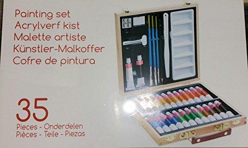Künstler Malkoffer 35 tlg Acrylfarben Set im Koffer Malen Malset