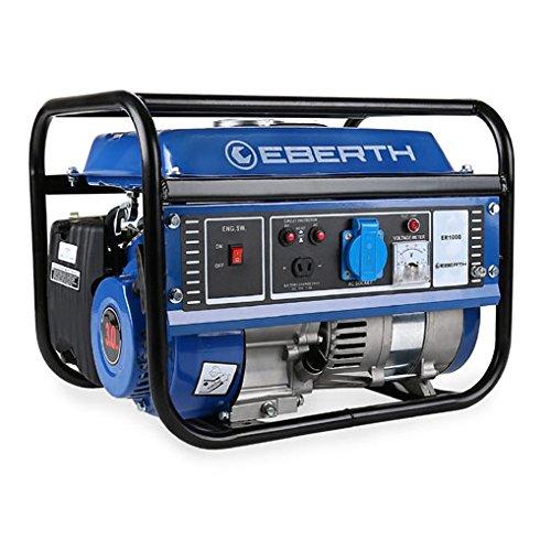 EBERTH 1000W Generador de corriente (Motor de gasolina de 4 tiempos y 3 CV, Refrigerado por aire, 1x 230 V, 1x 12 V, Arranque rectractil, Monofasico, Seguridad por falta de aceite, Voltímetro)