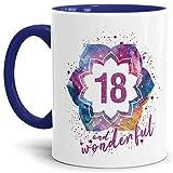 Tassendruck Geburtstags-Tasse 18 and Wonderful Geburtstags-Geschenk zum 18. Geburtstag ALS Geschenkidee für die Frau/Abstrakt / Bunt/Kaffeetasse / Innen & Henkel Dunkelblau