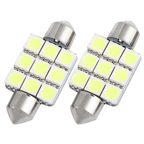 Sourcingmap® 2pcs 36mm Blanc 9 SMD 5050 LED Feston Lecteur Carte 6413 6418 Interne