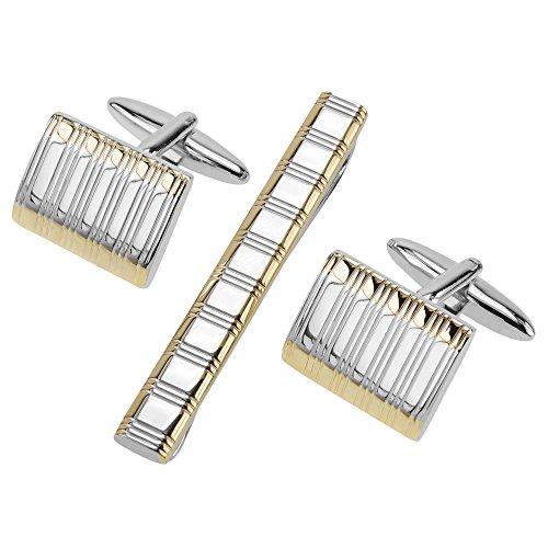 CUFF IT Homme boutons de manchette Pinces à cravate 4.8 CM Rayures gravées Or et argenté pour marriage avec Boîte Cadeau