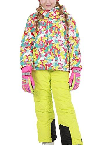 Mädchen Kinder Skianzug Skijacke Skihose Regenlatzhose Verdickung Lang Jacket Wintermantel (Keine Handschuhe) (Rosa, 146/152( Etikett 150))