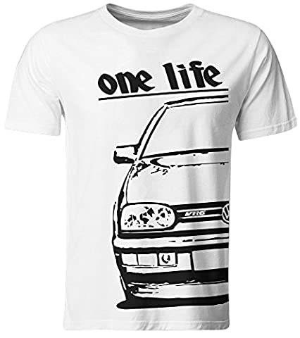 One Life – T-Shirt pour Homme – VW Golf 3 VR6/Blanc/Taille S FOR Boys