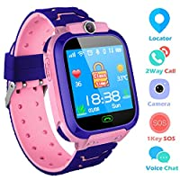 bhdlovely Kids Smart Watch Mobile Cell Phone, Child GPS/LBS Tracker SIM Touch Screen SOS Call Camera Voice Chatting For Boys Girls Birthday Compatible with iOS/Android(Pink)