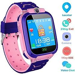 Reloj Niños Smartwatch LBS/GPS Pantalla Táctil Kids Safe Anti-Pérdida SOS para Android e iOS Smartphone (Pink)