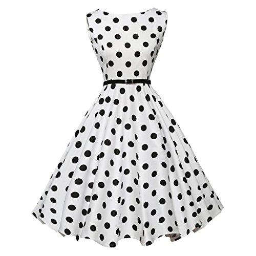 Damen Kleider Elegant, Dasongff 1950er Vintage Polka Dots Pinup Retro Rockabilly Kleid Ärmellos Cocktailkleider Abend-Partei-Abschlussball-Schwingen-Kleid (L, Weiß) (Dots Winter)