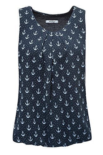 Hailys Damen Top Blusentop Bluse Print (S, Navy) (Print-bluse Leichte)
