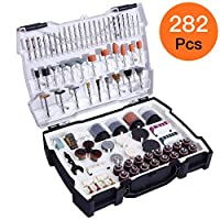 """TACKLIFE Rotary Tool Accessories Kit 282 pcs 1/8""""(3.2mm) Diameter Shanks Universal Fitment Cutting, Grinding, Sanding, Sharpening, Carving and Polishing Tools -ARTO2C"""