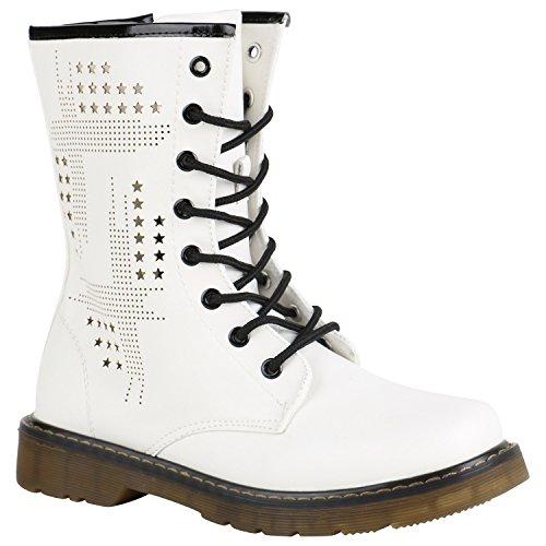 Stiefelparadies Derbe Damen Stiefeletten Worker Boots Schnürstiefel Cut-Outs 151708 Weiss Nieten 40 Flandell