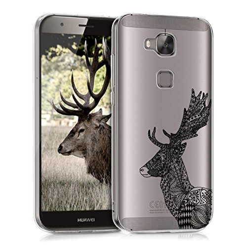kwmobile Crystal Case Hülle für Huawei G8 / GX8 - TPU Silikon Kunststoff Cover im Zentangle Hirsch Design
