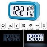 AUDEW LED LCD Digital Réveil Horloge Alarm Clock Thermomètre Calendar Pour Voiture Voyage Table Bureau Bleu