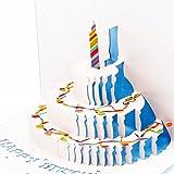 Papier Spirit Pop Up Grußkarte zum Geburtstag Geburtstagskarten Glückwunschkarten Grußkarten Geburtstag (Klavierkuchen,blau)