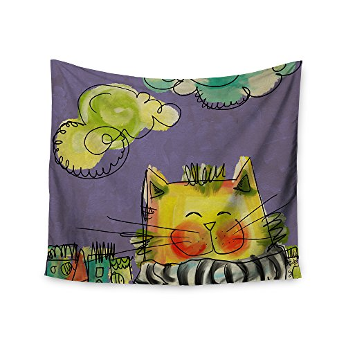 Kess InHouse Carina Povarchik Urban Cat with Scarf, gelbe Illustration, Wandteppich, 68
