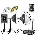 Walimex Pro VC Excellence Studioset Classic 6.5.5 inkl. 2x 500 Watt/1x 600 Watt Studioblitz/Softbox/Reflexschirm/Blitzauslöser/Lampenstativ/Reflektorhalter/Studiotrolley