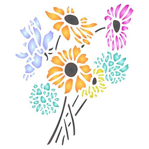 Daisy Blume Schablone-wiederverwendbar Flora Bouquet Strauß Wand Schablone-Vorlage, auf Papier Projekte Scrapbook Bullet Tagebuch Wände Böden Stoff Möbel Glas Holz usw. L