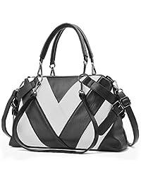 BestoU Ladies Handbags, Black Pu Leather Handbag Women Shell Shoulder Bags For Work, Shopping - Black&White