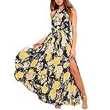 Damen Kleider Frauen Chiffon Sommerkleider Deep V-Ausschnitt Maxikleid Blumendruck Strandkleid Floral Long Minikleid Vintage Abendkleid Langarm T-Shirt Partykleid Cocktailkleid (S, Sexy Gelb)