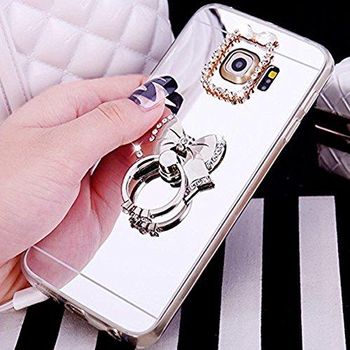 Custodia Cover per Samsung Galaxy S6 edge Samsung G925, Ukayfe Cover Specchio Lusso Placcatura Lucido di Cristallo di Scintillio Strass Diamante Glitter Caso per iPhone 7 Plus[Crystal TPU] [Shock-Abso Arco Argento 4#