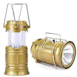 6 LED Solar Power Camping Lantern Light Rechargable Collapsible Night Light Waterproof Outdoor Super Bright Hiking Flashlight,Brown