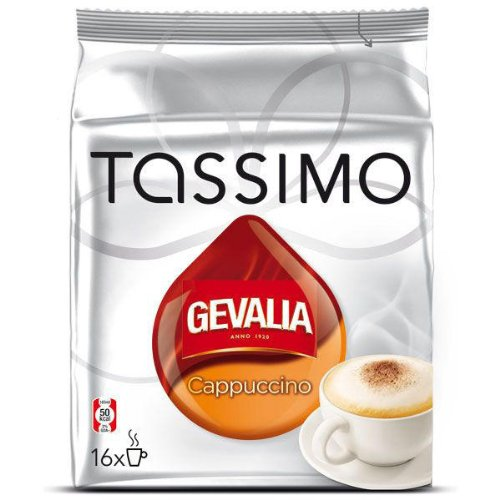 Tassimo Gevalia Cappuccino, Kaffee, Kaffeekapsel, Gemahlen, 16 T-Discs (8 Portionen) Tassimo T-discs Gevalia
