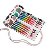 Amoyie Leinwand Stifterolle für 48 Buntstifte, Hand Roll-up Mäppchen für Reisen/Schule/Büro/Kunst (Keine Schreibzeuge im Lieferumfang), Süße Eule