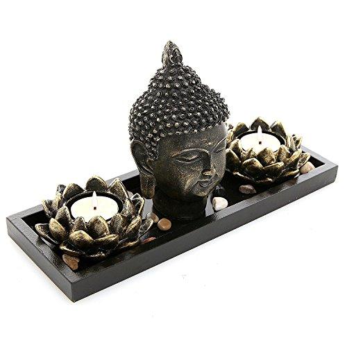 Buddha Kopf Skulptur ZEN GARTEN SET W/Lotus Teelichthalter & Holz Display Tablett, schwarz - Votivo Asiatischen Kerze
