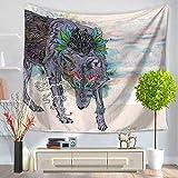 Meerjungfrau Cartoon Kreativ Mandala Tapestry Hippie Wandteppich,Morbuy Tapisserie Design Motiv Wandbehang Wandtuch Tischdecke Meditation Strandtuch Yogamatte Wall Home Décor (130 x 150cm, Wolke und Wolf)