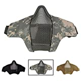 Tactical faltbar Half Face Mask, CS Mesh Maske verstellbar Komfortable unten Gesicht Schutzmaske für CS/Jagd/Paintball/SHOOTING, ACU Camouflage