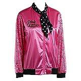 Abstand Heligen Damen Zipper Danny Pink Pailletten Sleeve Damen Satin Jacke Mantel Kostüm mit Polka Dot mit Schal