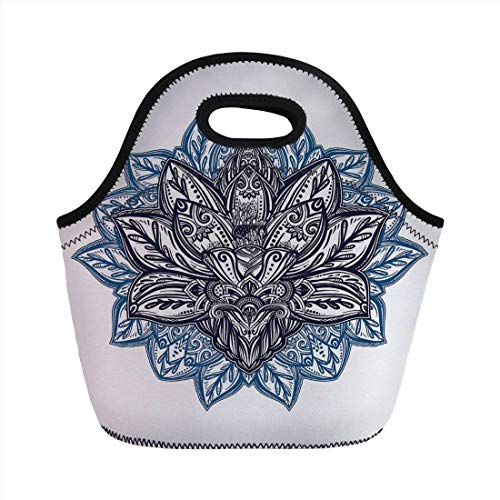 Portable Bento Lunch Bag,Lotus,Ethnic Paisley Petals Themed Lotus Flower Ethnic Boho Tattoo Illustration Decorative,Violet Blue Indigo,for Kids Adult Thermal Insulated Tote Bags (Tasche Duffle Tattoo)