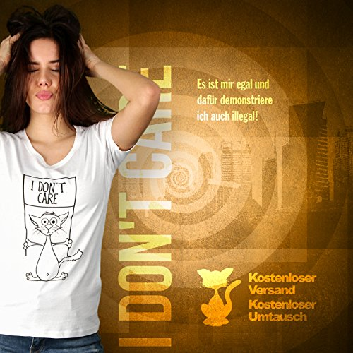 I Don't Care - Damen T-Shirt von Kater Likoli Weiß