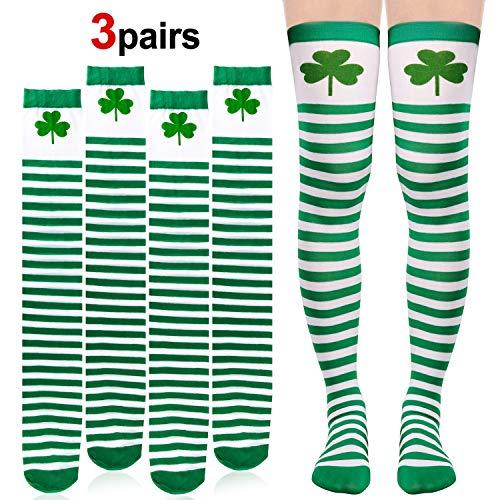 Howaf 3 Paar St. Patricks Day Kniestrümpfe Kleeblatt deko Grün/Weiß Ringel Overknee Socken Mädchen Damen St. Patrick's Day Kostüm Karneval Zubehör (Kobold-kostüme Für Mädchen)
