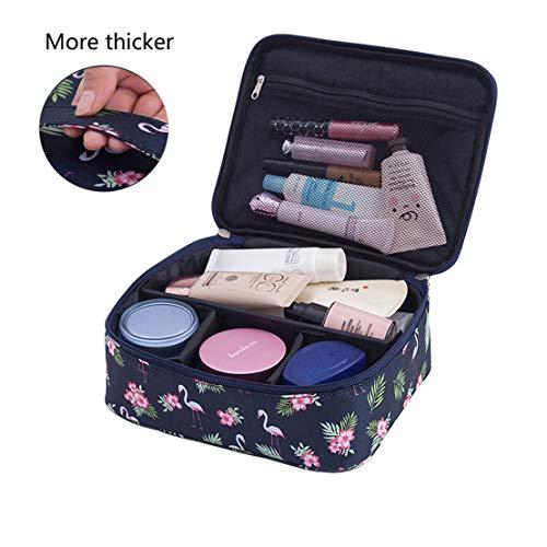 Hanlianwen Travel Cosmetic Bag Maquillaje portátil Funda/Funda Impermeable Toiletry Organizer Multifunción Journey Maquillaje Storage Kit con Divisores ajustables para Señora/Niña/Mujeres(patrón de pájaro negro)