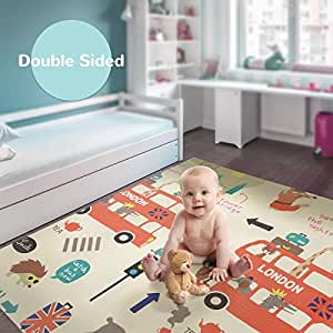 Koochie-Koo Baby Reversible Play Mat, Baby Crawling Mat, Outdoor/Indoor Use Double Sided Insulated Waterproof Floor Mat 150cm X 200cm (Multicolor) (London Bus)