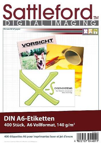 Sattleford Adressetikett Drucker: 400 Etiketten A6 105x148 mm für Laser/Inkjet (Aufkleber)