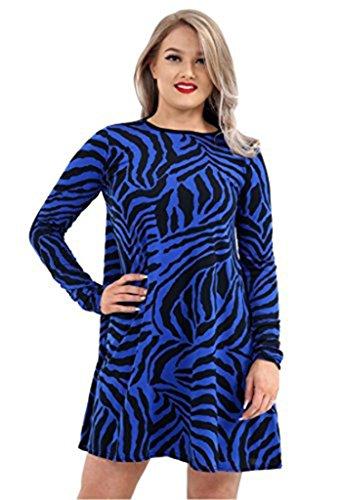 Friendz Trendz -Women à manches longues imprimé zèbre Swing Dress Skater Mini Dress Top Royal Blue