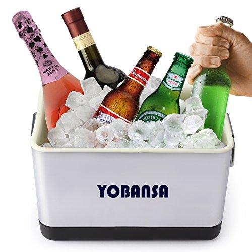 yobansa Edelstahl Ice Bucket Metall Bier Getränk Kühler Champagner Wein Eis, Container edelstahl