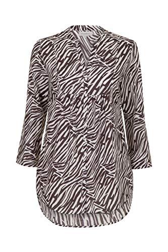 Promiss Damen Damen Top Woven Triscella - Elegante Bluse Aus Weich Gewebtem Stoff Mit Zebramuster Weiß, 038