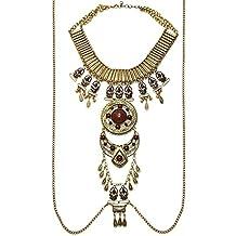 Mujer Estilo Étnico Retro Personalidad Aleación Diamante De Imitación Borla Collar Cadena De Cuerpo Joyería Del