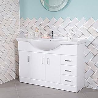 Aquariss Badmöbel Badezimmermöbel Waschbecken Unterschrank Freistehend 1200mm Weiß