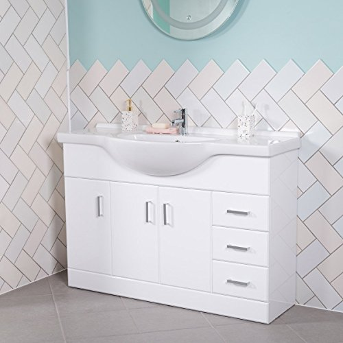 Badmöbel Badezimmermöbel Waschbecken Unterschrank Freistehend Weiß