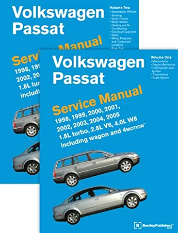 Volkswagen Passat (B5) Service Manual: 1998, 1999, 2000, 2001, 2002, 2003, 2004, 2005: 1.8l Turbo, 2.8l V6, 4.0l W8 Including Wagon and 4motion [2 Volume set]