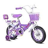 Kinderfahrräder , 2-7 Jahre altes Kinderfahrrad, Mädchenpedal-Dreirad, Rahmen aus Hartstahl, beleuchtetes Hilfsrad, 3 Größen (12 Zoll / 14 Zoll / 16 Zoll) Lila (Farbe : 14 inches)